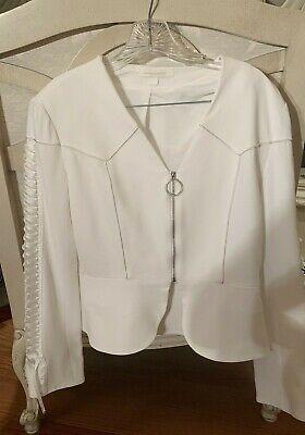 JONATHAN SIMKHAI Lace-Up SleeveL Ivory Lace-up crepe jacket SIZE 4