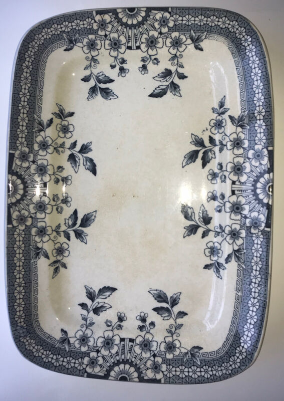 "Antique ""Foley""  A F & Co 14"" Blue Aesthetic Transferware Platter Staffordshire"