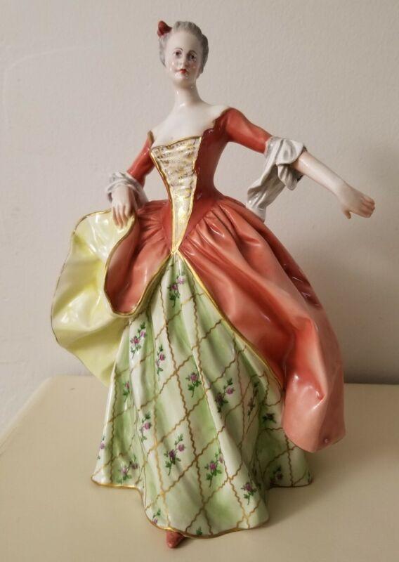 Antique Capodimonte Ginori Porcelain Lady Figurine Statue Marked Italy Italian