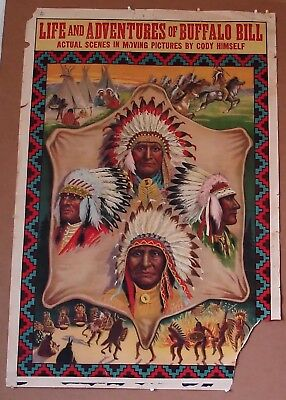Buffalo Bill 1910 stone litho original vintage movie poster Sitting Bull