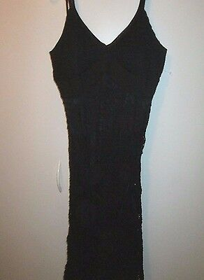 (Sue Wong Designer Sexy Black Crochet Embroidered Lace Dress Sz L NWT)