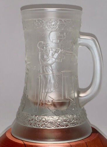 Fenton Embossed Molded Beer Mug Stein Vintage Barware Glassblowers Design