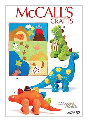 SEWING PATTERN! MAKE PLUSH~STUFFED TOYS! 3 KINDS DINOSAURS! APPLIQUED DINO QUILT
