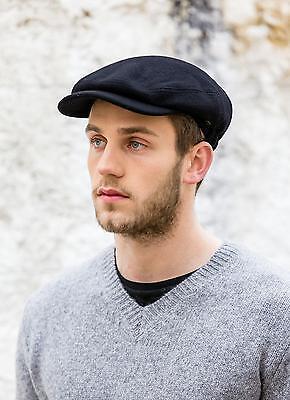 ORIGINAL BLACK KERRY FLAT CAP TWEED WOOL KERRY HAT BY MUCROS WEAVERS KILLARNEY  Black Wool Cap