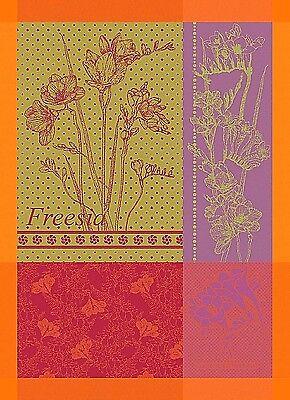 GARNIER THIEBAUT, FREESIA ORANGE FRENCH JACQUARD KITCHEN / TEA TOWEL, NEW