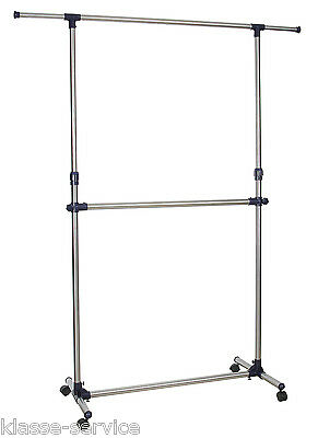 Kleiderständer Doppelstock Garderobenständer Kleiderstange Breite 90 bis 166 cm