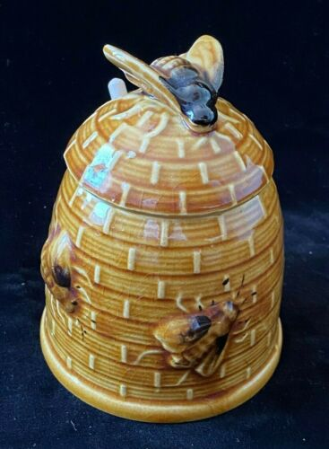 Vintage Beehive Honeypot with Embossed Bees and Drizzle Stick Brown Glaze
