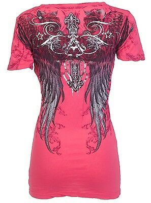 ARCHAIC by AFFLICTION Womens T-Shirt FLY HIGH Wings PINK Tattoo Biker Sinful $40