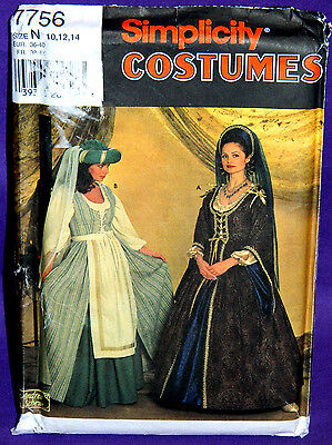 Uncut Simplicity Misses 10-14 Medieval Renaissance Dress Costume Pattern 7756