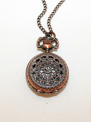 Necklace Watch, Antique Copper Tone Victorian Style Pocket Watch, Steam Punk