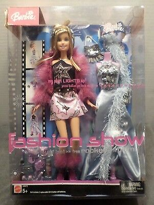 BARBIE DOLL: 2004 Fashion Show Rocker to Glam Shirt Lights Up G3673 New in Box