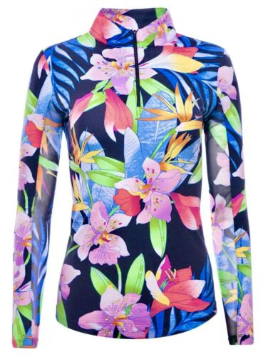 IBKUL Rio 1/4 Zip Mock Neck Top Black Floral Long Sleeve S M L UPF 50 Golf Shirt