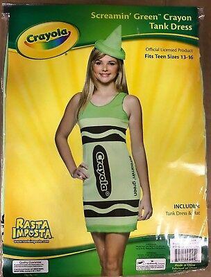 Rasta Imposta Crayola Crayon Girls Tween Juniors Halloween Party Costume and Hat