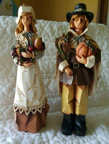"Pacific Rim Pilgrim Couple (2) Composite Figurine Thanksgiving Fall Theme 9"""