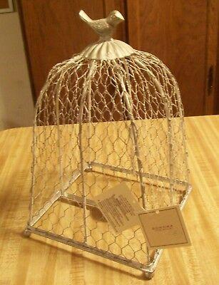 "Sonoma SilverTone Decorative Cages BIrd Tealight Candle Holder;8x8x11"" NWT-KOHLS"