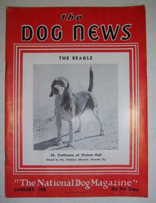 Vintage THE DOGS NEWS magazine. January 1940. The Beagle cover