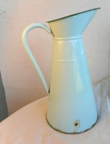 """Large Antique 15"""" Enamelware Water Pitcher French Country  Blue"""