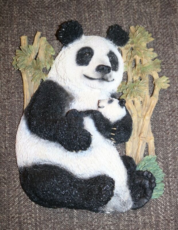 Porcelain Plaque panda with cub