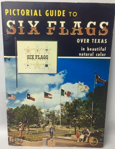 VINTAGE Pictorial Guide to SIX FLAGS Over Texas Beautiful Natural Color1966 RARE