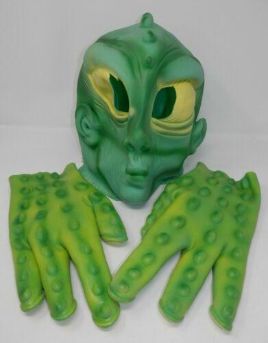 Alien Halloween Mask and Gloves - Green Rubber Martian Costume Monster Adult