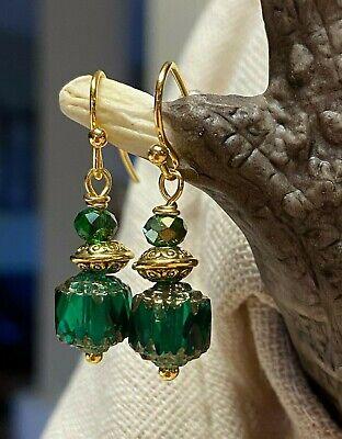 Emerald Green Czech Glass Cathedral Bead & Gold Toned Dangle Drop Earrings. 1