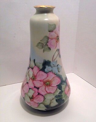EARLY 1900s HAND PAINTED OHME PORCELAIN VASE SIGNED PRUSSIA