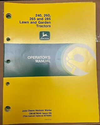 John Deere 240260265285 Lawn Garden Tractor Operator Manual Om-m79648 D9 A6