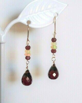 14k Yellow Gold Garnet Briolette and Ethiopian Opal Drop Dangle Earrings