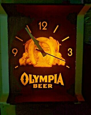 HEAVY VINTAGE OLYMPIA BEER CLOCK LIGHT