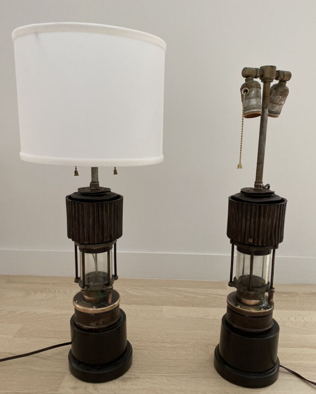 2 VINTAGE PATTERSON TYPE HCP FELLING ON TYNE BRASS MINERS LANTERNS -ELECTRIFIED