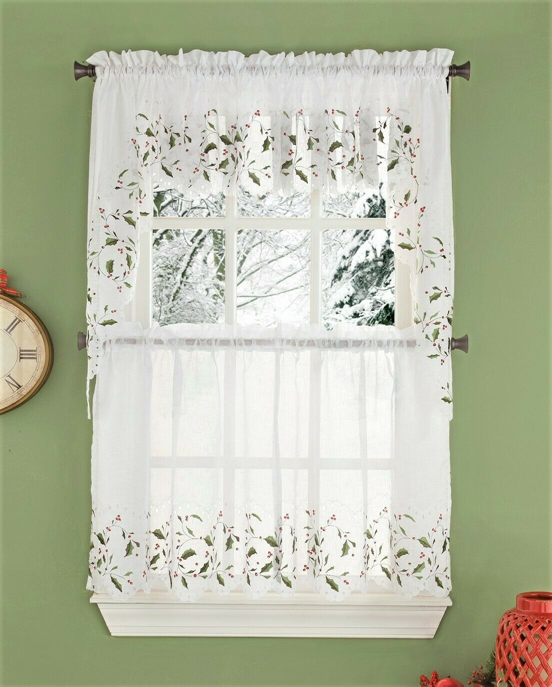 Holly Cutwork Christmas Kitchen Curtain Collection - {NEW}