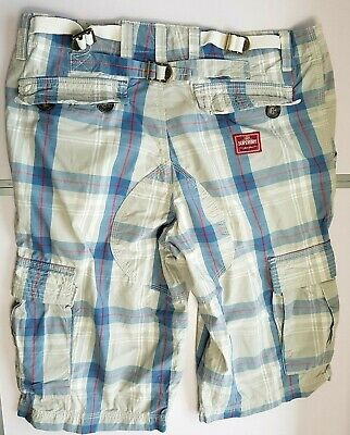 SUPERDRY MENS SHORTS CARGO COMBAT W32 (M) GREY BLUE RED CHECK ZIP