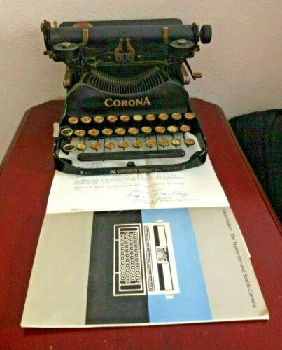 VINTAGE COLLECTIBLE 1920 CORONA 3 BANK MODEL TYPEWRITER. W/PAPERWORK. USA