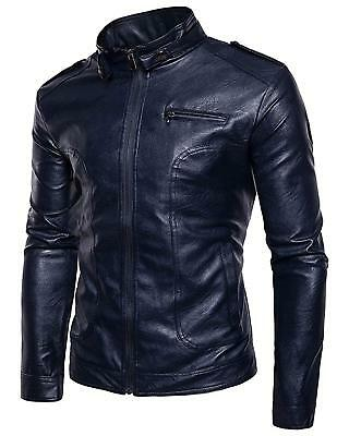 Men's Retro Full-Zip Stand Collar PU Faux Moto Leather Jacket - Navy / M Full Zip Stand
