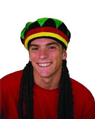Rasta Wig Hat (Rasta Tam With Rasta Wig Dreadlocks Hat Costume Hair Hippie Reggae Dreads)