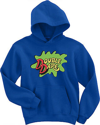 BLUE Double Dare Logo Nickelodeon Costume Hooded SWEATSHIRT HOODIE - Double Dare Costume
