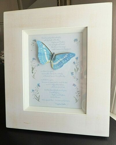 """Marjolein Bastin Frame """"Blue Against Blue"""" Poem, Garden Nature 9""""X11"""" Hallmark"""
