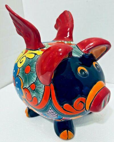 Mexican Talavera Pottery Animal Flying Pig Folk Art Figure