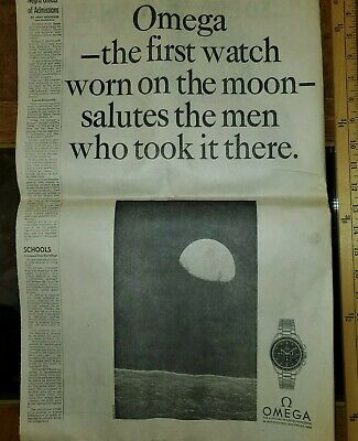 1960s Omega Speedmaster watch NASA Newspaper Moon astronaut VTG Trade print ad
