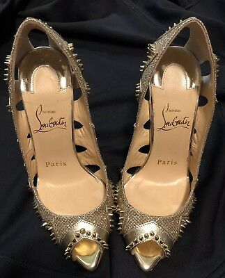New sz 4 / 34 Christian Louboutin Gold Circus City Spiked Peep Toe
