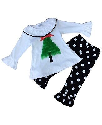 Children Clothing Boutiques (Girl Christmas Tree Ruffled Boutique Outfit Toddler Infant Kids Clothing)