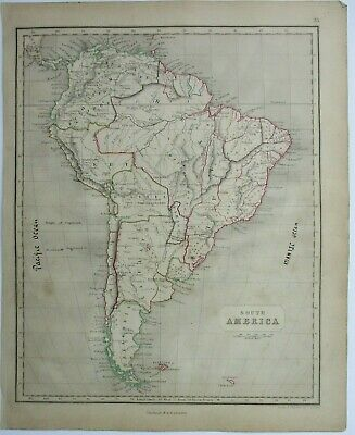 Antique Map of South America by William & Robert Chambers 1845