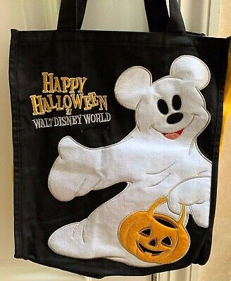 Wdw Halloween Decorations (Walt Disney World  Mickey Ghost Happy Halloween Trick or Treat Candy Fabric Bag)