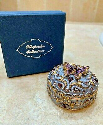 Purple, blue Bejeweled Jeweled Trinket Box, BUTTERFLY Keepsake Collection Enamel ()