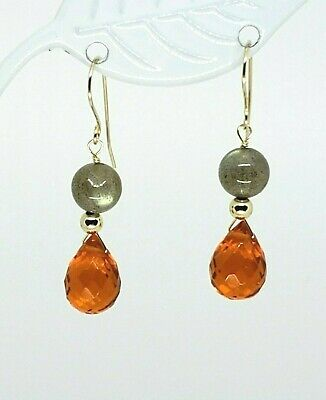 14k Yellow Gold Carnelian Briolette and Labradorite Drop Dangle Earrings Briolette Dangle Earrings