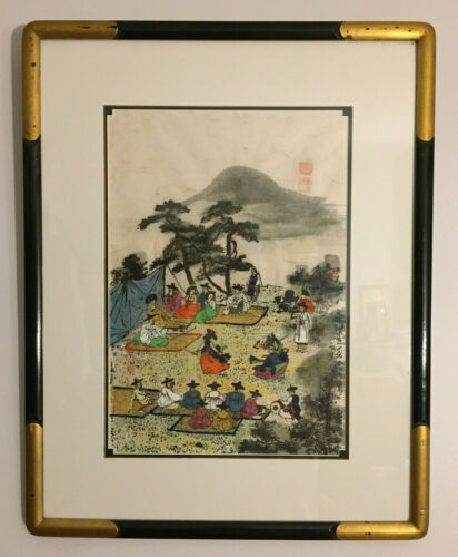 Vintage Korean Art Watercolor Ink on Silk Kisaeng Girls Geommu, Signed and Seal
