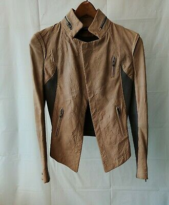 Cut25 Knit  Leather Jacket  Open Front  Tan size 0
