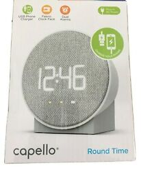 Capello Round Time Table Digital Clock - Gray Fabric USB Charging Port