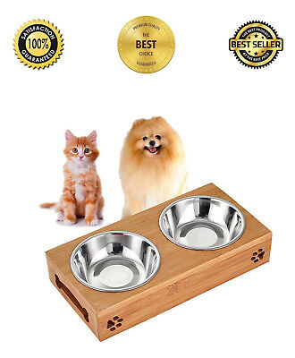 Pet Raised Elevated Feeder Bowls Solid Bamboo Stand Perfect Cat And Small Dog