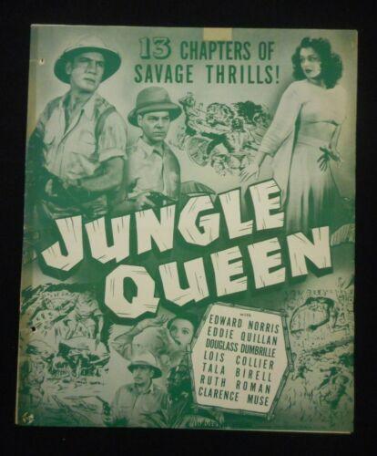 JUNGLE QUEEN 1945 Serial Pressbook + Ads Insert Ruth Roman Eddie Quillan